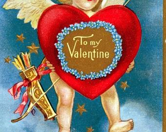 1909 Valentines Day Postcard - Used