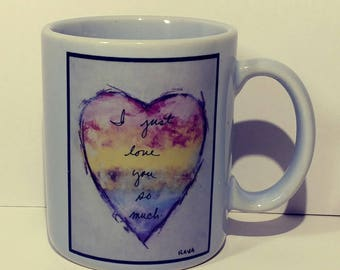 10oz Ceramic Coffee Mug Flavia Weedn Art Love You So Much Sweetheart Cup Heart Design Breakfast Lunch Dinner Tableware Collect Gift Idea NOS