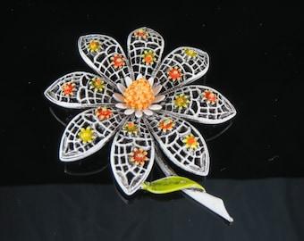 ART White & Orange Enamel Floral Brooch - Signed