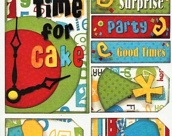 Birthday Titles Tags Borders Bo Bunny  Cardstock Scrapbook Stickers Embellishments Card Making