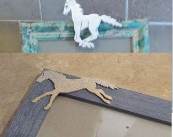 Up cycled standing  picture frames one small with wood pony on top of frame, one larger frame with wood pony on side. BOTH FOR 19.00