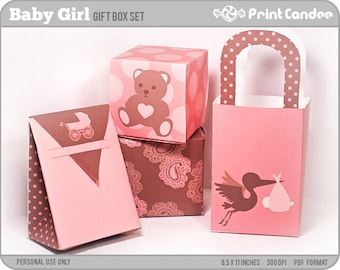 70% OFF SALE! - Baby Girl - Printable Party Favor Boxes / Party Favor Set - Personal Use Only - Printable - DIY