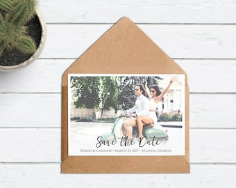 Save The Date Photo - Wedding Custom Save the Date Photograph - Digital File Printable - Save the Date Picture- Modern Script Font- Postcard