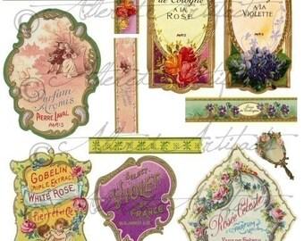 Printable Vintage French Perfume Labels Printable Bottle Label Printable Antique Fragrance Label Digital Collage Sheet Download