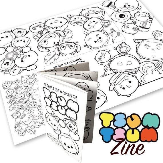Coloring Book Zine : Tsum Tsum Theme Digital Coloring Book Zine