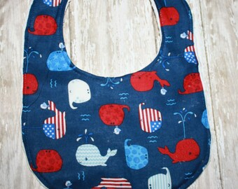 Baby Bib- Baby Boy or Baby Girl Bib  Baby Personalization Optional, Whale Baby Bib, Nautical Baby bib