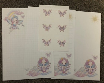 New design - Fairies in the clouds 25 sheet letter writing paper & 6 sticker set