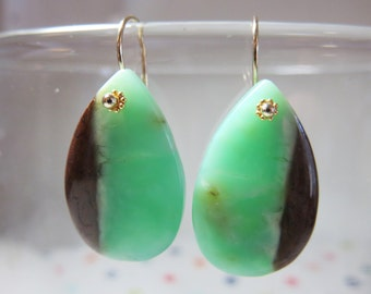 Natural Chrysoprase Smooth Teardrops, and 14K Solid Yellow Gold Earwires