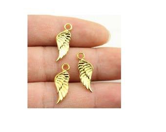 SET of 3 angel wing charm gold (S11)