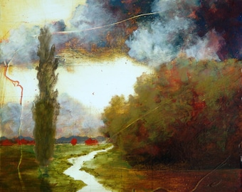 """Tree and River oil painting original oil painting on wood panel """"Threshold of the Gate"""" Landscape painting Oil landscape painting Tree art"""