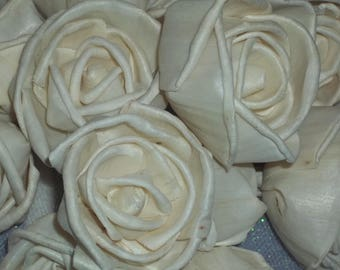 "Sola Wood Roses - Set of 12 / Sola Wood Flowers / Bird Roses / 2"" size /Raw/ Natural / Ivory /Wedding Flowers/Home Decor Flowers/DIY Flowers"
