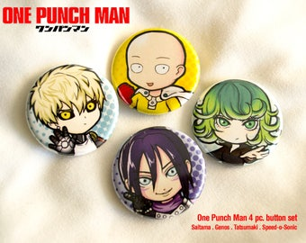 One Punch Man 4pc Button Set
