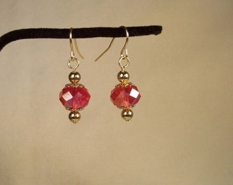Red Crystal Earrings, Faceted Crystal earrings, Rondelle Earrings, Faceted Glass Crystal Earrings, Red Gold Earrings, Gold Red Earrings