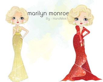 Marilyn monroe clipart instant download PNG file - 300 dpi