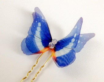 Delicate Deep Blue Butterfly hairpin, organza butterfly pin hair accessory