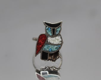 925 - Vintage Turquoise and Coral Inlay Owl Ring in Sterling Silver