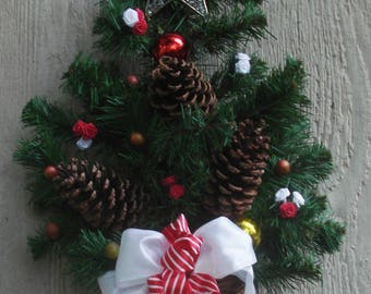 """22"""" Red and White Pine Cone Christmas Tree Wall Hanging"""