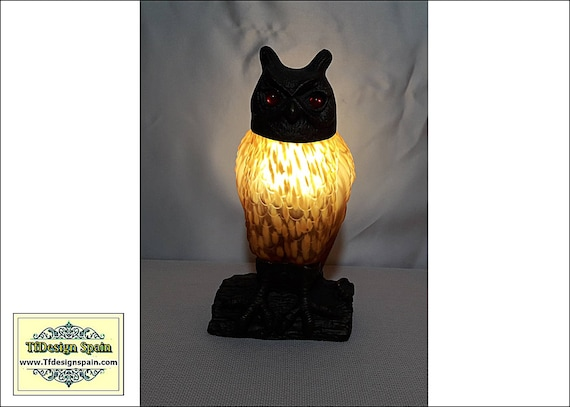 Owl lamp, Amber Glass Owl lamp, Owl desk lamp, Owl glass and metal lamp, Decorative owl lamp, Owl lamp Etsy, Owl figural lamp 24 cm