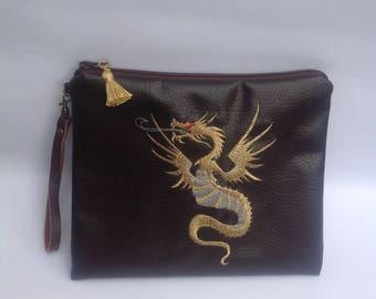 Embroidered clutch bag/ handbag