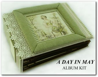 Album KIT ''A Day In MAy Album'' 8.25x6.25 inches with PDF Tutorial, Scrapbook Kit, Mini Album Kit