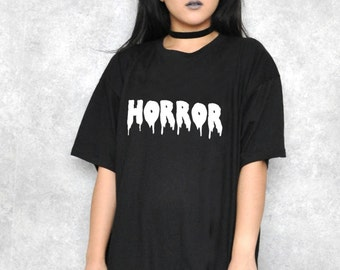 Horror Glow In The Dark Black Halloween Boyfriend T-Shirt