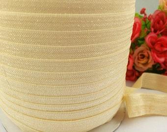 "5/8"" buttermilk Shiny Elastic, fold over elastic,#824, Elastic by the yard,DIY,Headband,Foe,Wholesale,Foldover elastic,Headbands"