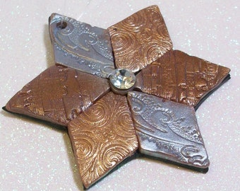 Metallic Star Christmas holiday ornament: polymer clay ornament copper silver bronze