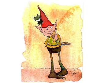 Elf Christmas Card - Funny Christmas Greeting Card - Watercolor Christmas Painting Print  'Cookie Nibbler Elf'