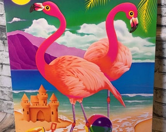 Unpunched Vintage 90s Lisa Frank Folder Flamingo Beach Tropical Paml Tree Retro School Supplies