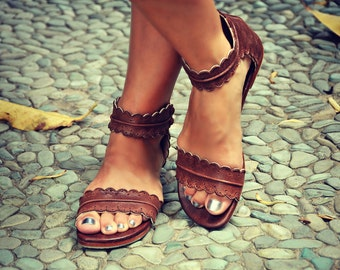 Brown leather sandals|women shoes|leather shoes|flat shoes|boho