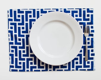 Double Sided, Eco-Friendly Place Mat -  ORGANIC - Set of 2 - (M2218 Blue Geometry Placemat)