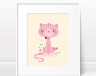 Cat nursery print - nursery gift, girls room print, baby girl art, original girls art, pink cat print, modern cat print, pink cat art