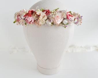 Flower crown, Bridal flower crown,Spring wedding crown, Wedding Flower crown, Bridal headband, Woodland wedding crown,Bridal floral crown