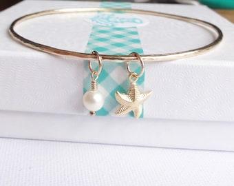 Starfish 14K Gold Filled Skinny Bangle - Fresh Water Pearl - Swarovski Crystal Birthstone