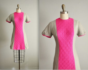 60's Mod Dress // Vintage 1960's Hot Pink Grey Mod A line Mini Dress S M