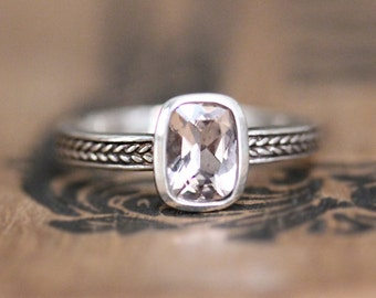 Morganite gemstone ring, cushion cut morganite ring, bezel set ring, silver wheat braid ring, sterling silver, Wheat band, ready to ship 6