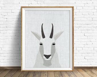 Mountain Goat - art print, large art, mid century modern wall art, art for kids, nursery decor, nursery wall art, woodland nursery, prints