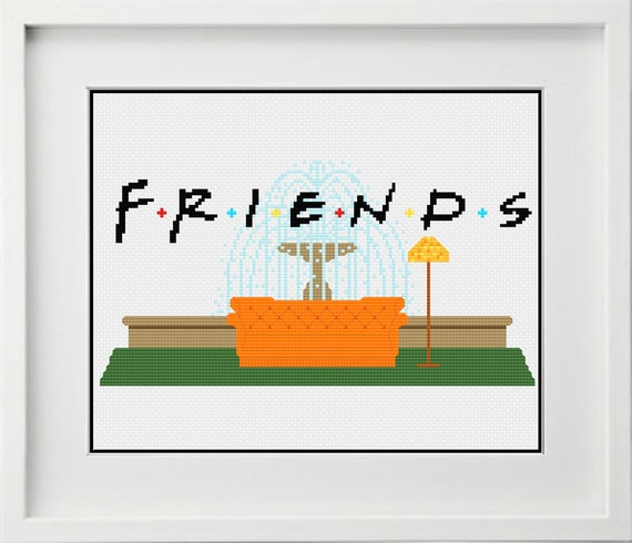 Friends (tv show) Fountain with Couch Cross Stitching Pattern ...