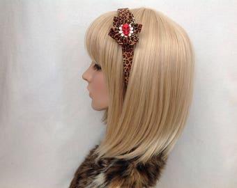 Leopard print flower skull headband hair bow rockabilly psychobilly gothic Lolita cute pin up girl vintage retro red brown black pretty