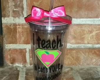 Teacher Gift - Personalized tumbler Pink