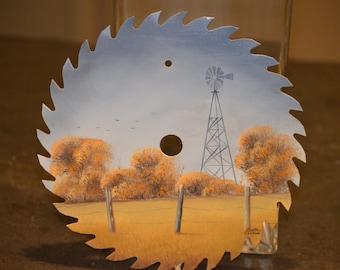 Painted Saw Blade, Original Acrylic Art