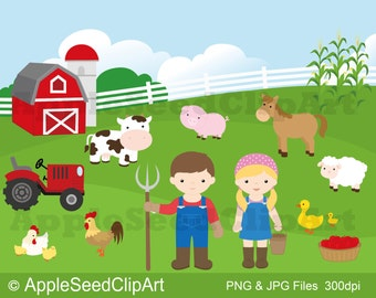 Farm Animals Digital Clip Art, Barnyard Digital Clip Art, Farmer Digital Clip Art, Instant Download