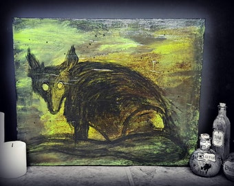 Critter Mixed Media Dark Art on Canvas