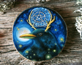 The Magic Catcher - blackbird painting - original painting on wood with gold leaf, wall decor