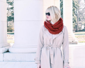 Red Knit Infinity Scarf ⨯ Chunky Red Cowl Scarf ⨯ Women's Fall Fashion, Holiday Red Scarf ⨯ Red Infinity Cowl Scarf ⨯ Red Fashion Scarf