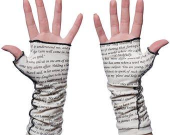 Little Women Writing Gloves - Fingerless Gloves, Arm Warmers, Louisa May Alcott, Literary, Book Lover, Books, Reading