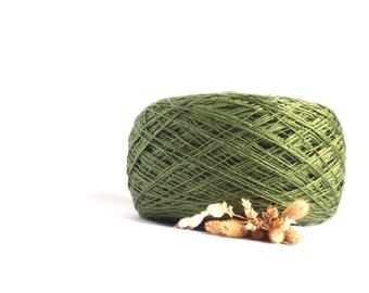 Linen Yarn, High Quality, Dark Moss Green #031 Linen Yarn, Linen Yarn For Crochet, Knitting, 100 g/ 3.5 oz