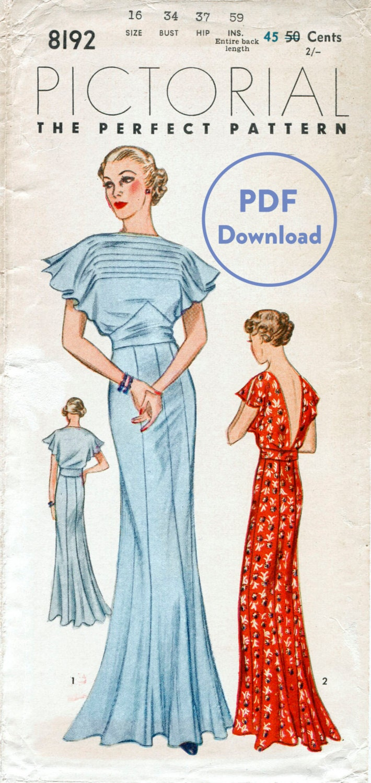 Schnittmuster der 30er Jahre 1930er Jahre Vintage Kleid