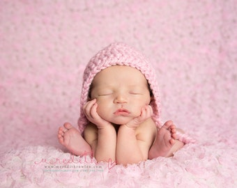 Chunky Basic Bonnet in Blossom Pink Newborn Size- Photography Prop- Newborn Baby Bonnet- MADE TO ORDER