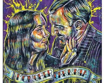 """Print 12 x 12"""" - Addams Family - Morticia Gomez Addams Macabre Horror Dark Art Gothic TV Show Halloween  Mon Cher Cara Mia"""